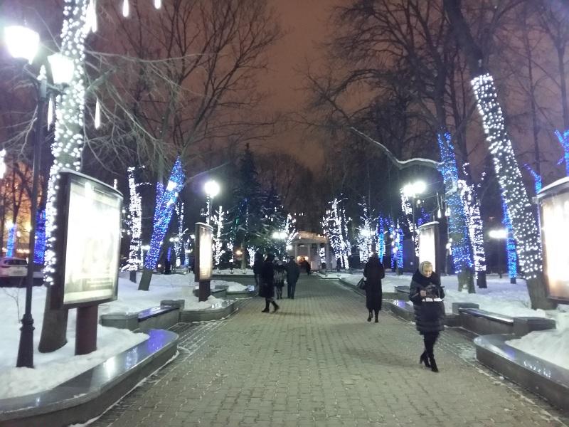 Парк Аквариум перед театром им.Моссовета зимой